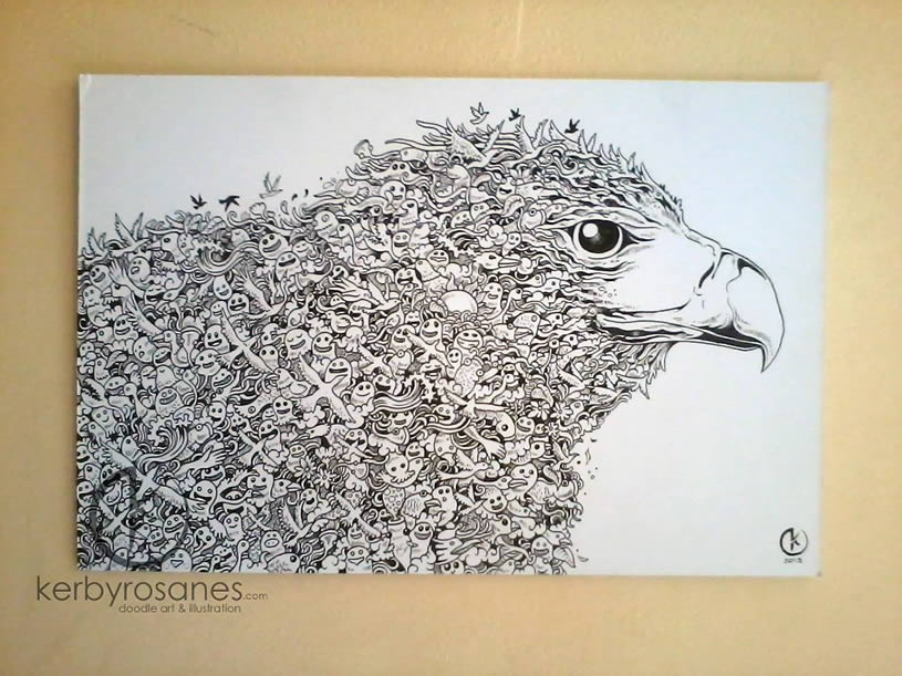 Hawk doodle by Kerby Rosanes