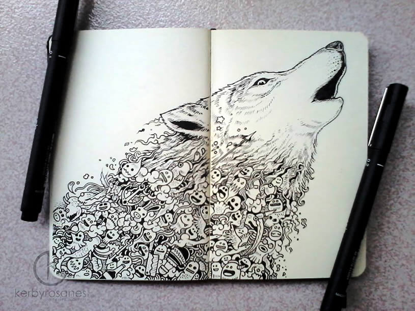 Wold doodle on moleskine by Kerby Rosanes