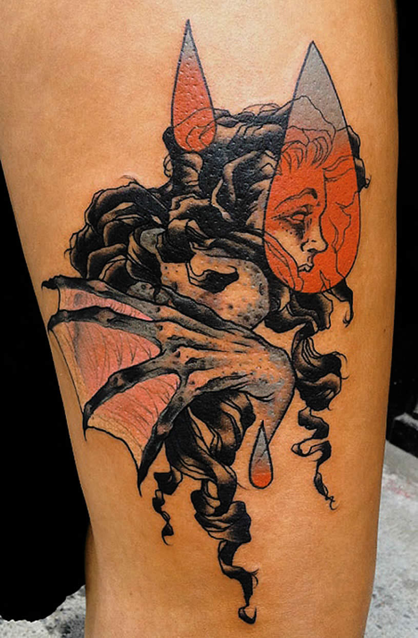 Woman in Heart tattoo by Mike Moses