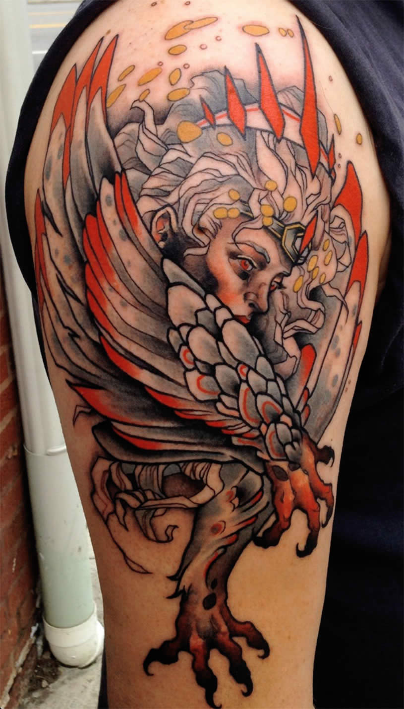 Cool lady tattoo by Mike Moses