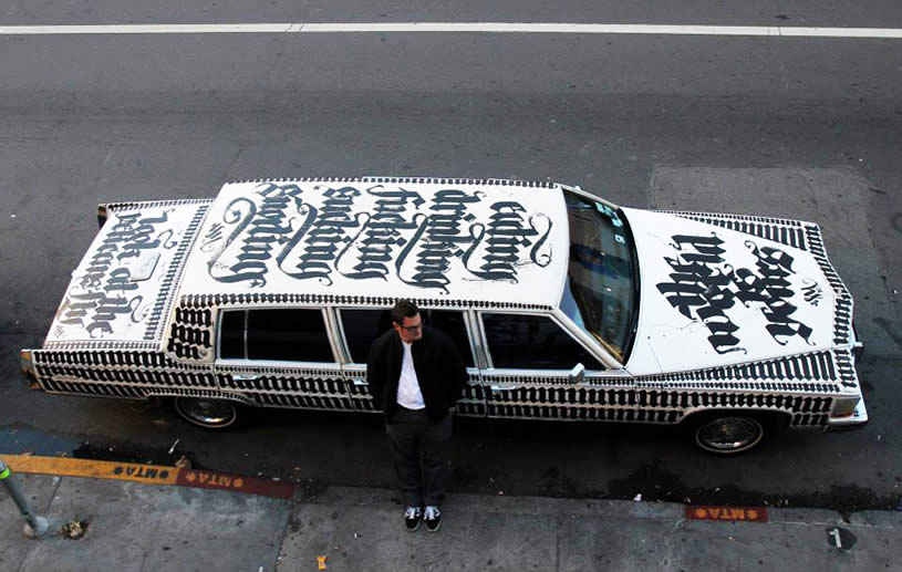 White car with Calligraphy by Niels Shoe Meulman