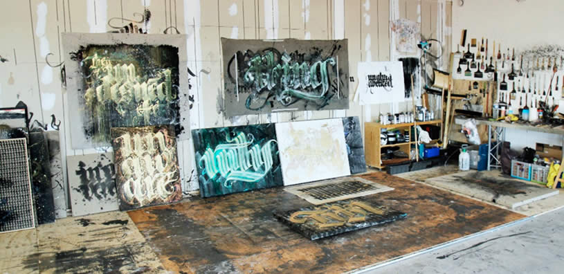 Niels Shoe Meulman's studio with paintings