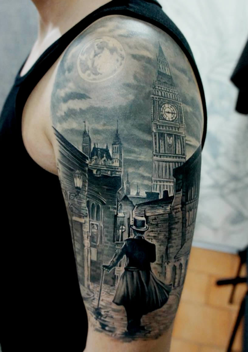Elaborate Scene tattoo by Pavel Roch