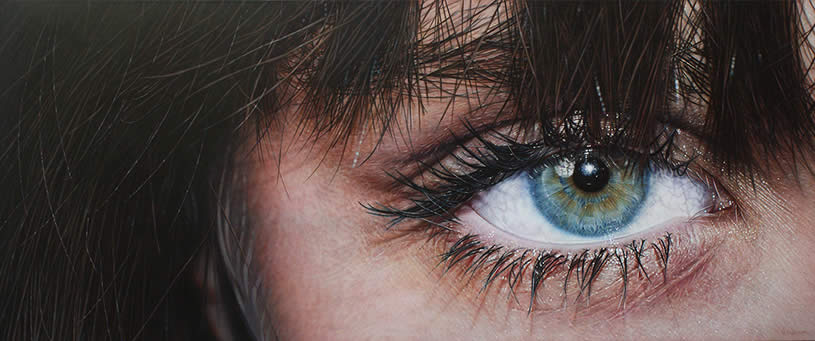 Blue-green eye, painting by Simon Hennessey
