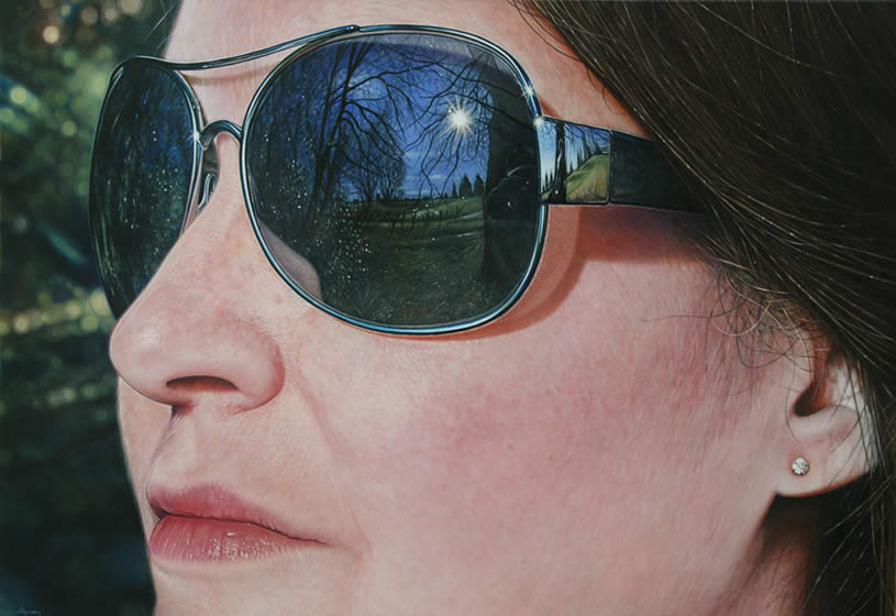 Hyperrealist painting of woman with glasses by