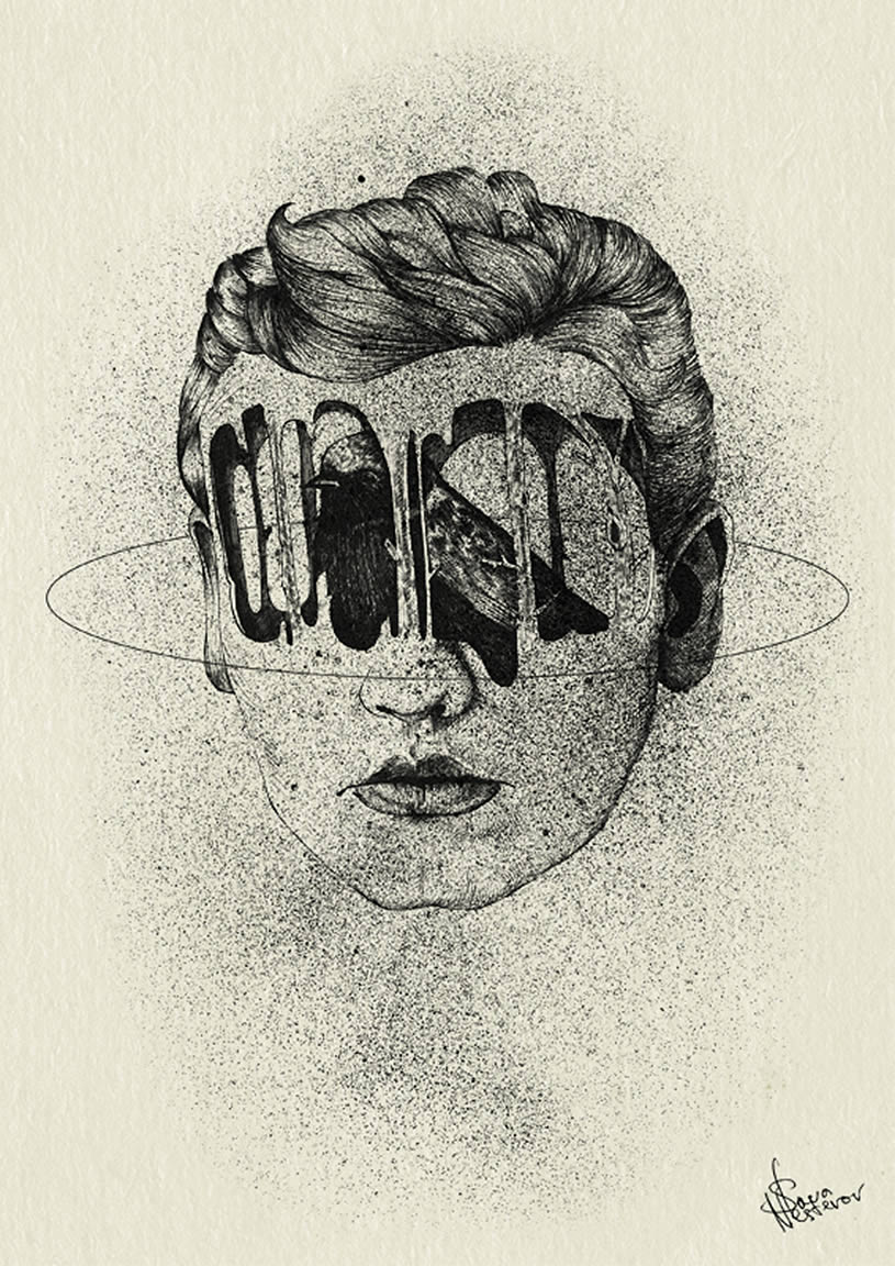 Holes in Face, drawing by Slava Nesterov