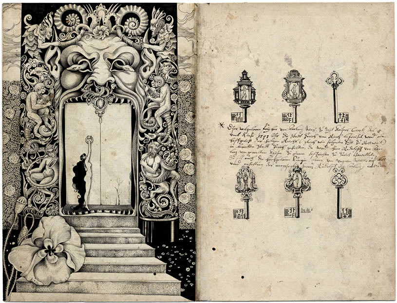 Door with stairs and keys allegorical drawing by Sveta Dorosheva