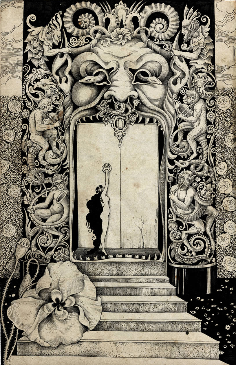 Stairs and Door allegorical drawing by Sveta Dorosheva