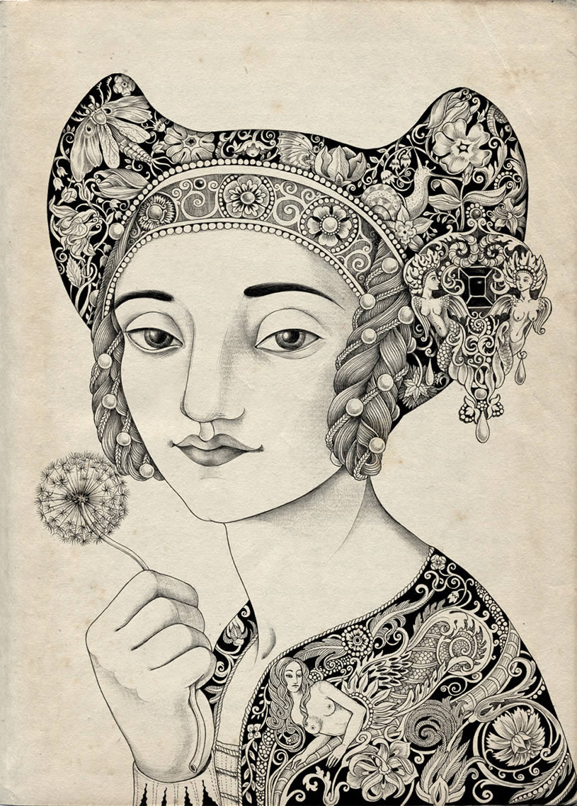 Tradition woman allegorical drawing by Sveta Dorosheva