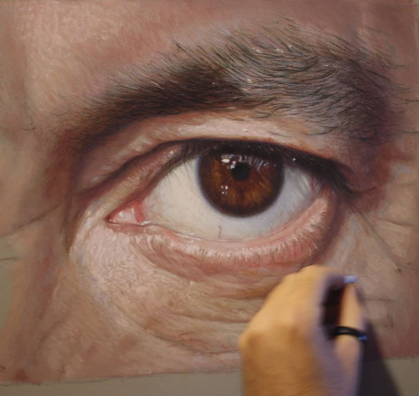 Eyes, realistic painting by Ruben Belloso Adorna