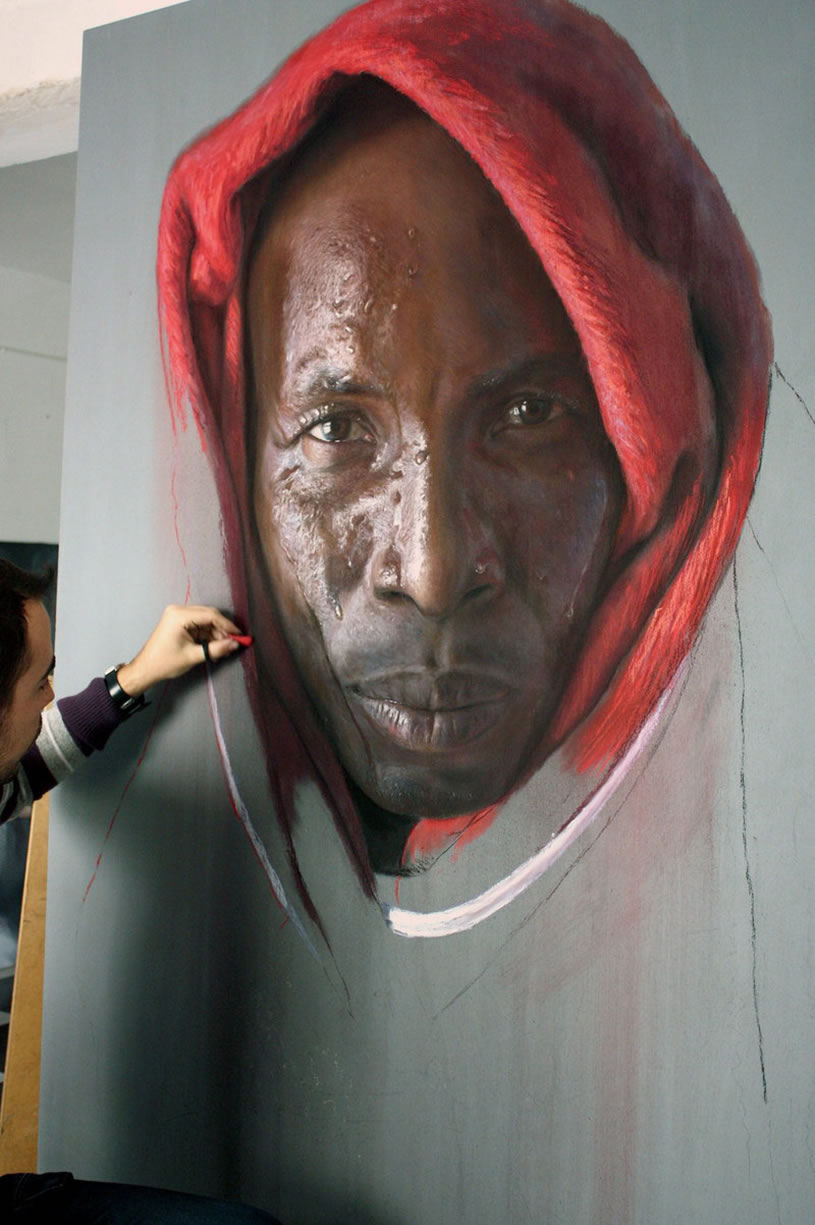 Black man with red cloth on head, painting by Ruben Belloso Adorna