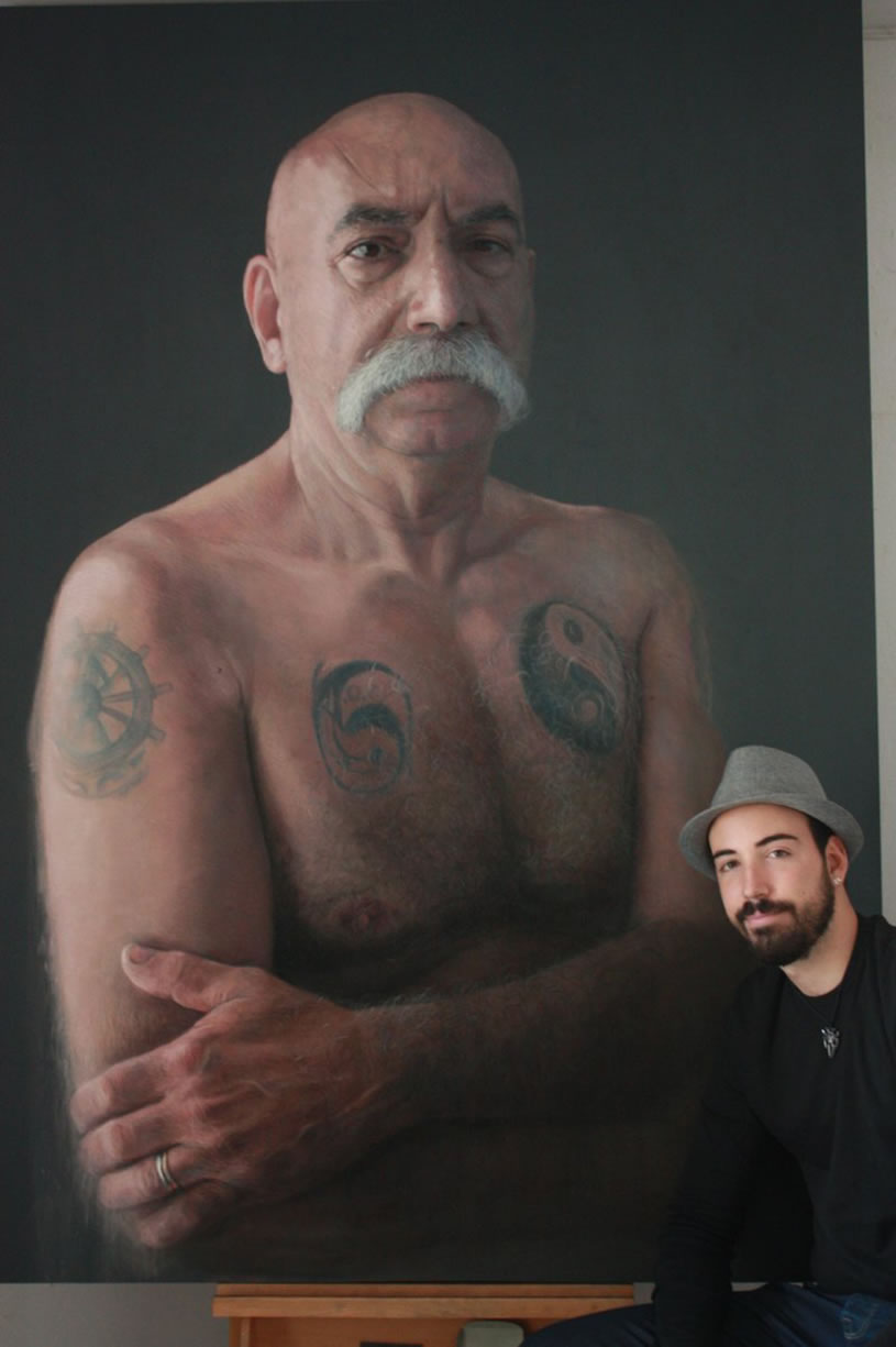 Tattooed Man with Moustache by Ruben Belloso Adorna