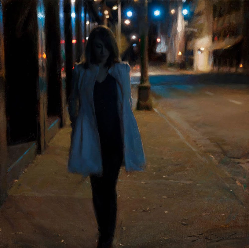 woman at night, a painting by casey baugh