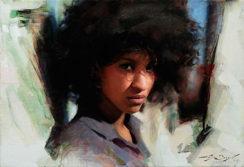 Girl with Afro, a painting by Casey Baugh