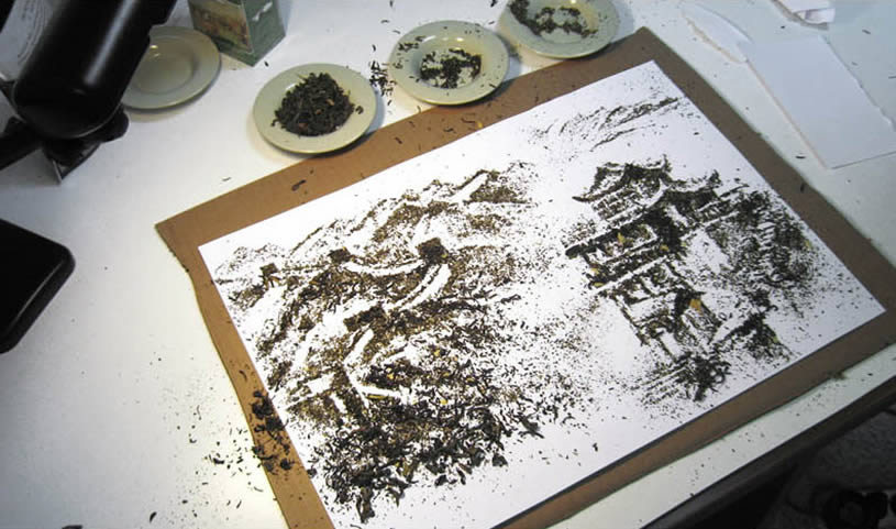Asian landscape made with tea by Andrew Gorkovenko 2