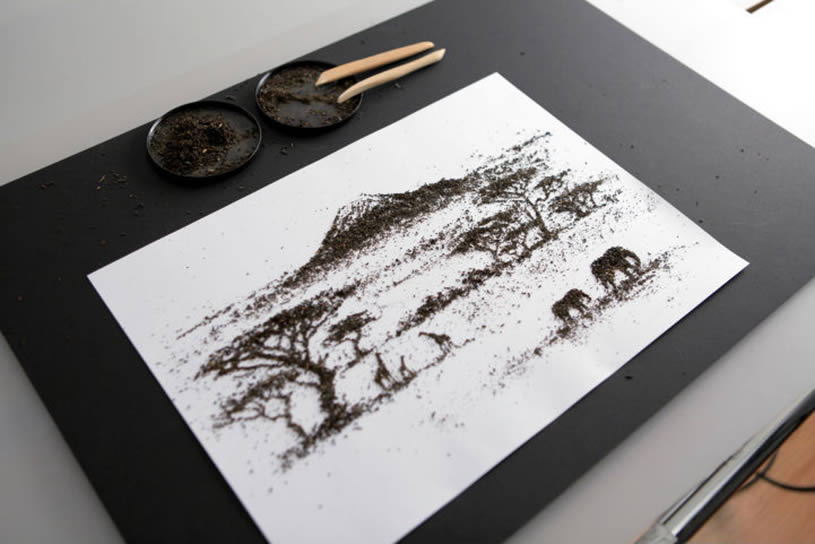Asian landscape made with tea by Andrew Gorkovenko 5