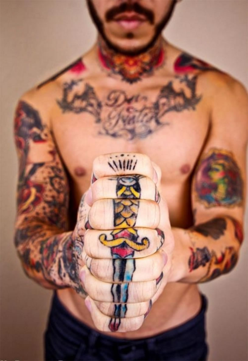 Sword tattoo on knuckles by ry-tang