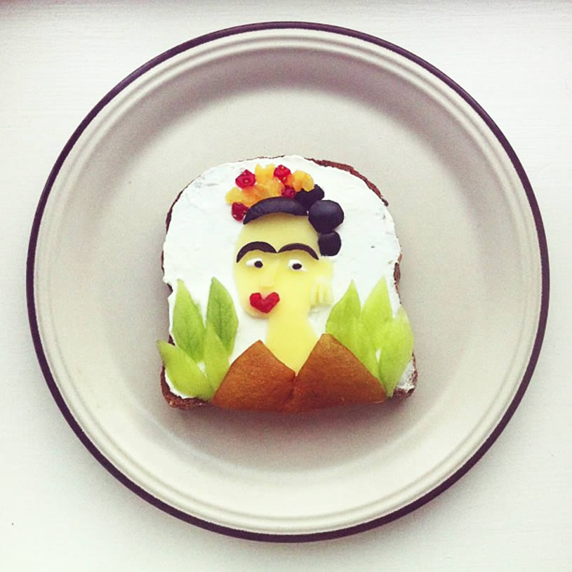 Frida Khalo, toast art by Ida Skivenes