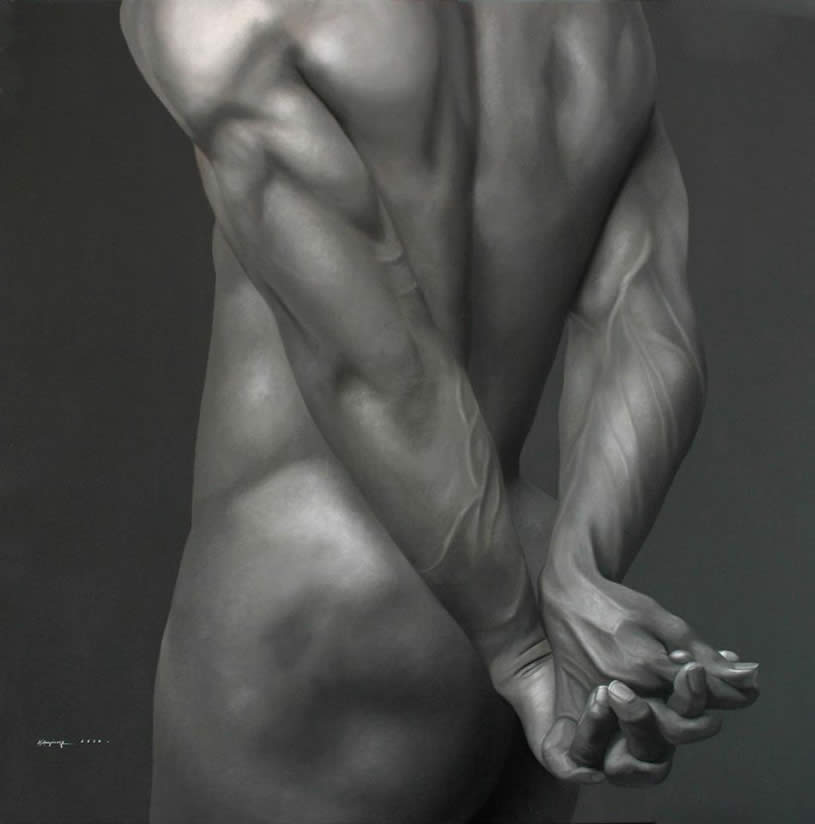 Nude man with hands behind back by Juan Carlos Manjarrez