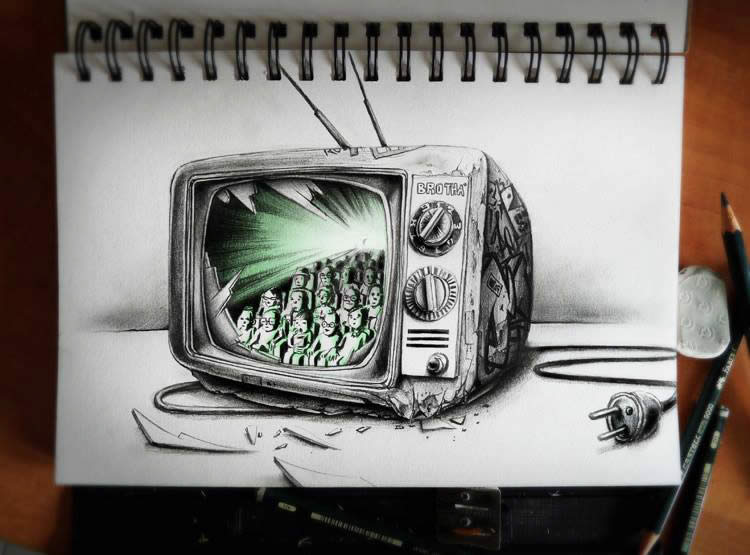 3D Television set sketchbook art by Pez
