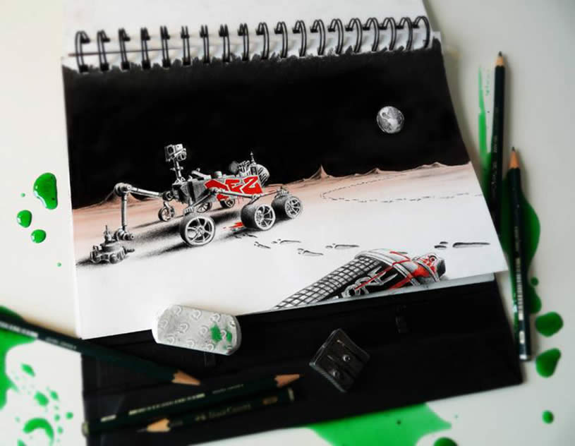 Landed on Moon sketchbook art by Pez