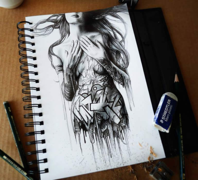 Nude woman sketchbook art by Pez