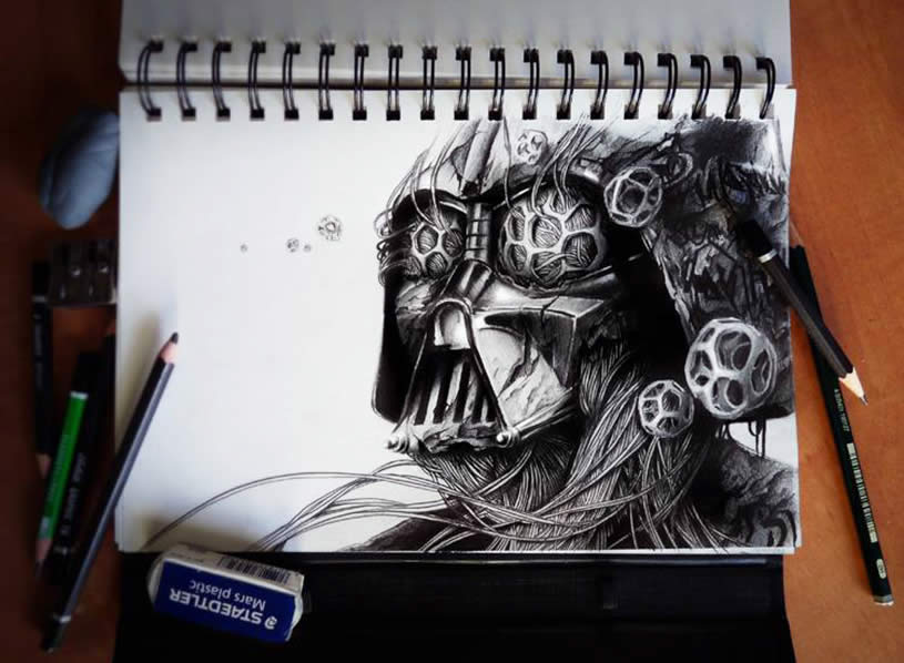 3D Darth Vader sketchbook art by Pez