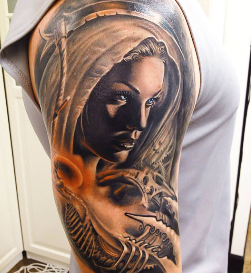 Woman with blue eyes tattoo by Rember Orellana