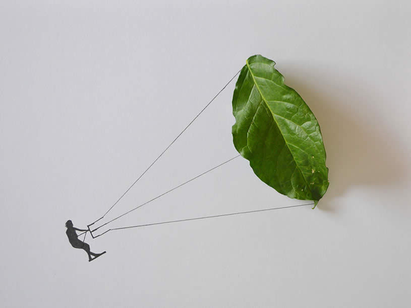 Leaf art: kite surfing by Tang Chiew Ling