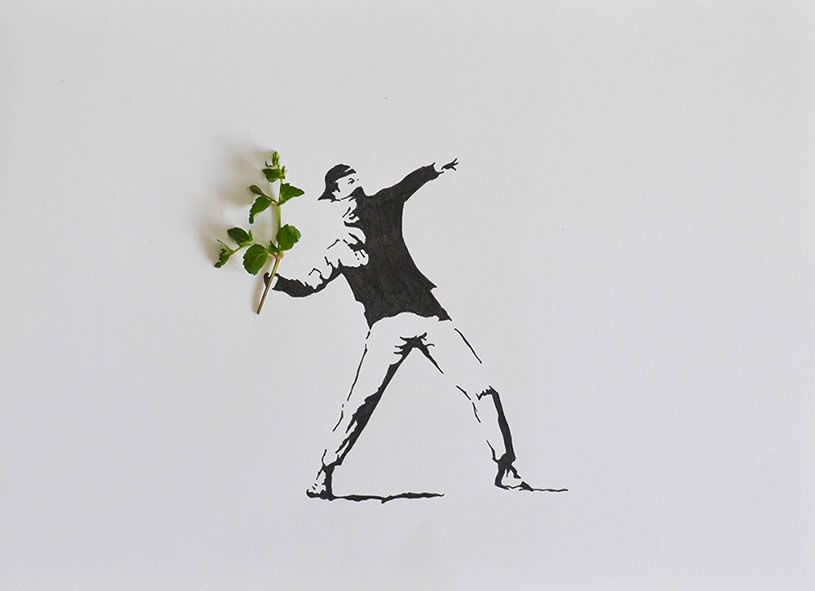 Throw flowers banksy, leaf art by Tang Chiew Ling