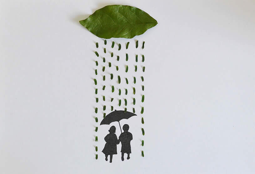 Leaf art: cloud raining on couple by Tang Chiew Ling