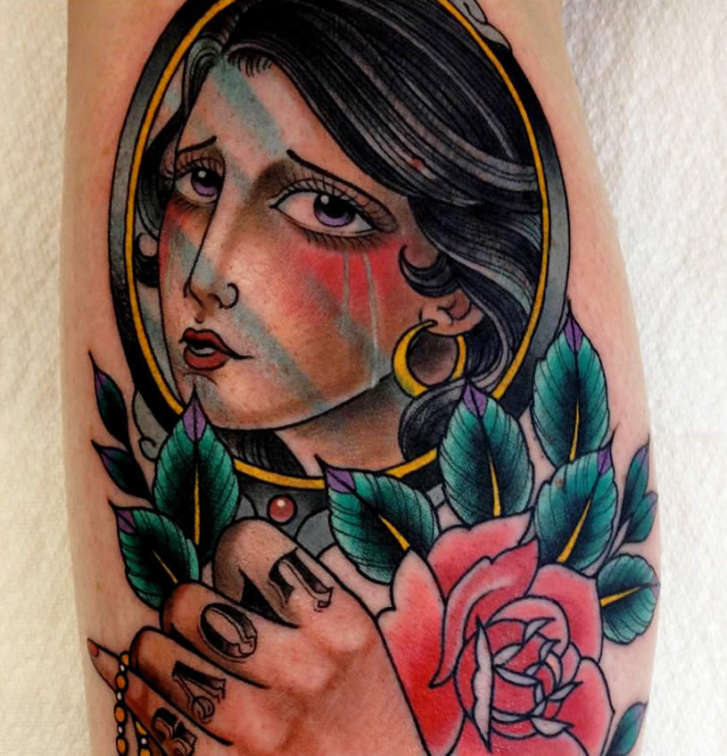 Woman with rose tattoo by Xam the Spaniard
