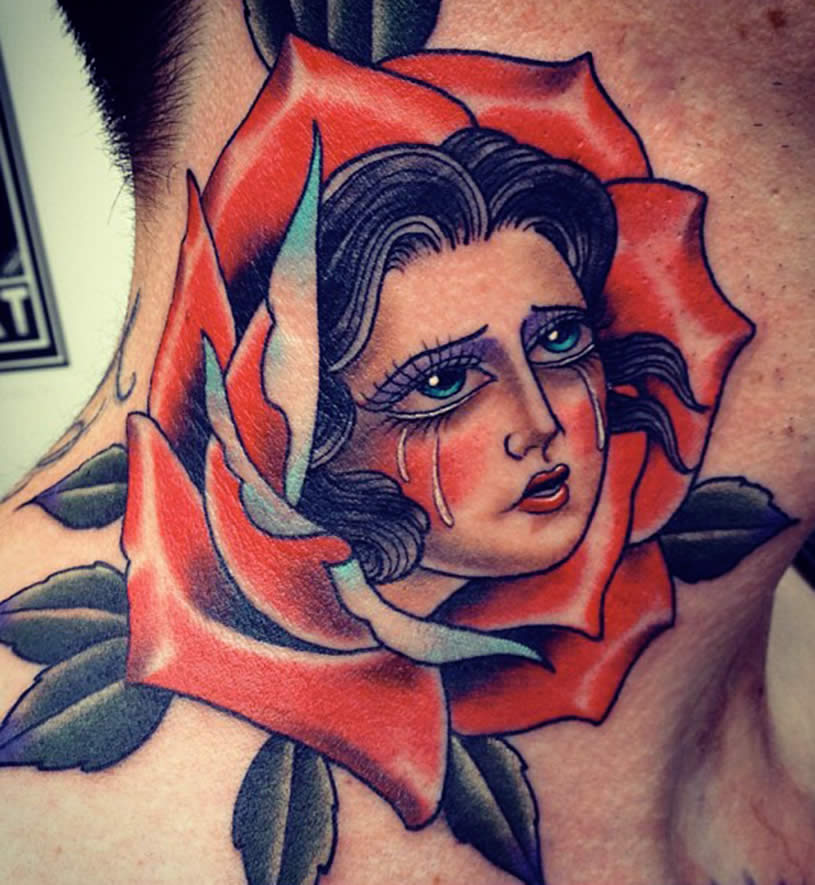 Woman in Rose tattoo by Xam the Spaniard
