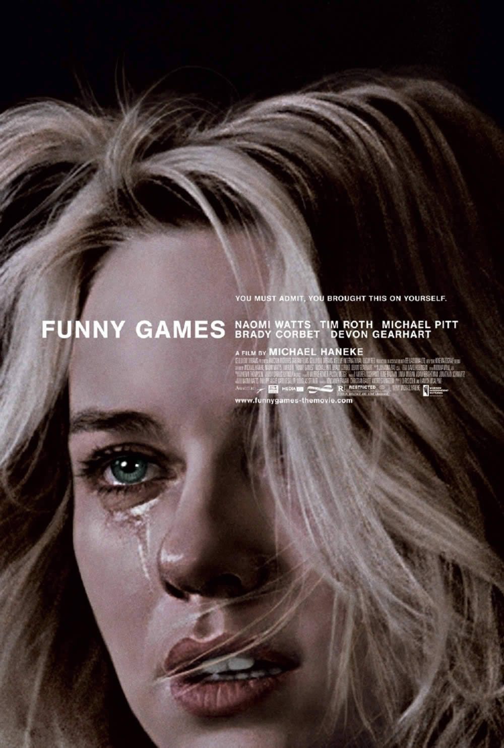 """Funny Games"" (1997). Poster design by Crew Creative Advertising, and artwork by Akiko Stehrenberger."