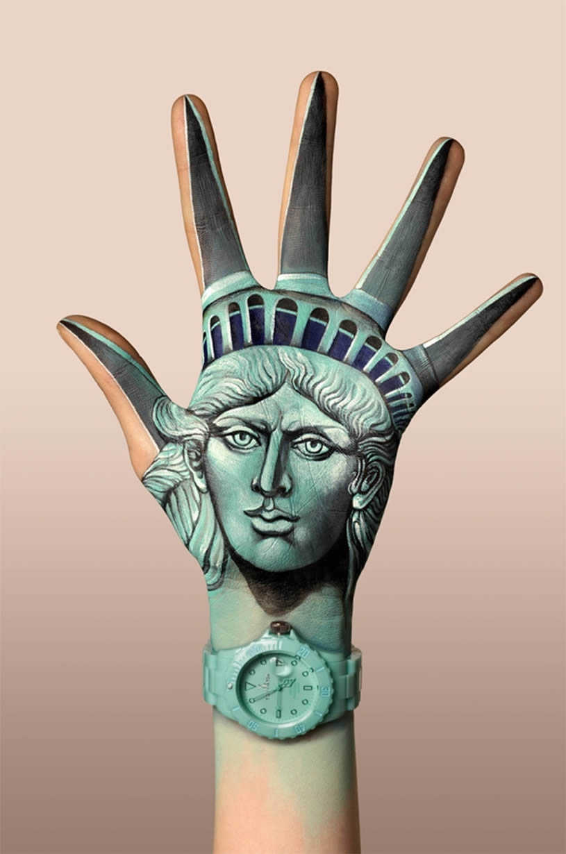 Statue Liberty, hand painting by Guido Danielle