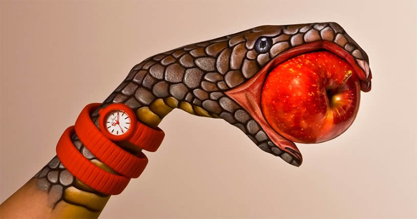 Snake with apple, hand painting by Guido Danielle