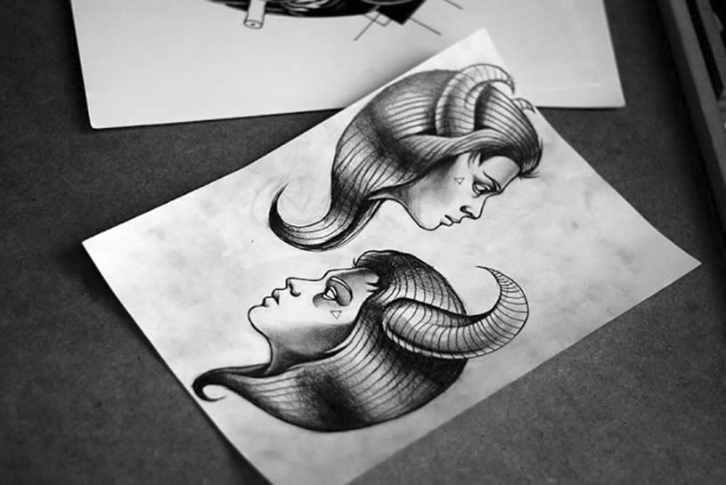 girl with horn drawing by kamil czapiga