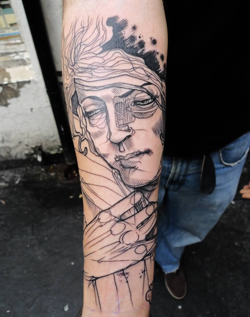Woman face tattoo by Lea Nohan