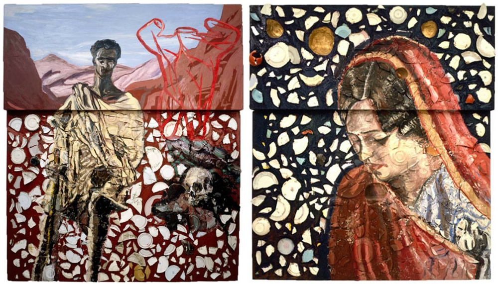St. Francis in Ecstasy (96' by 84', oil, plates, wood putty/wood 1980), and Portrait of a Girl (  96' x 84,' oil, plates and bondo on wood, 1980).