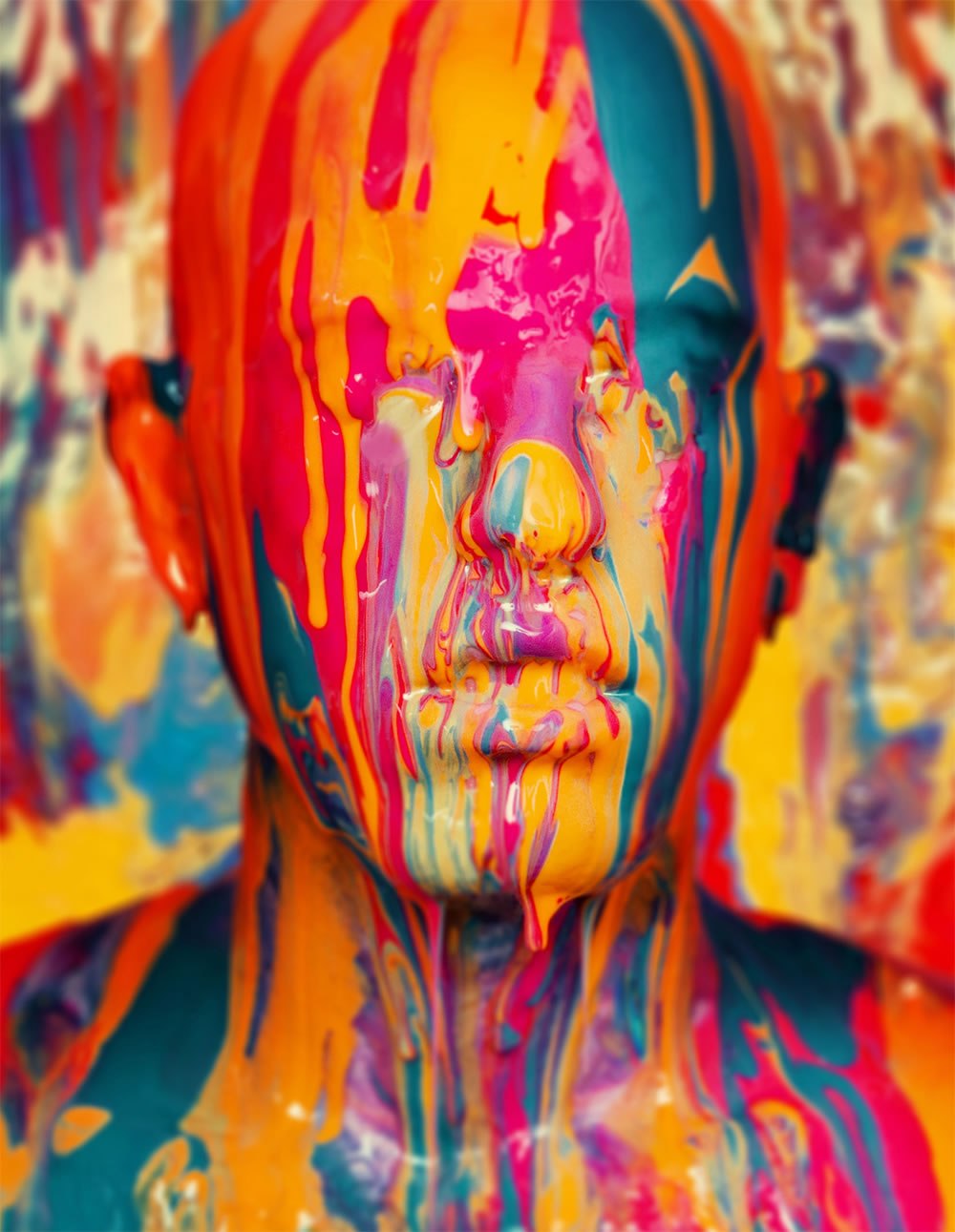 Self-portrait. Colored paint on face by Noam Galai