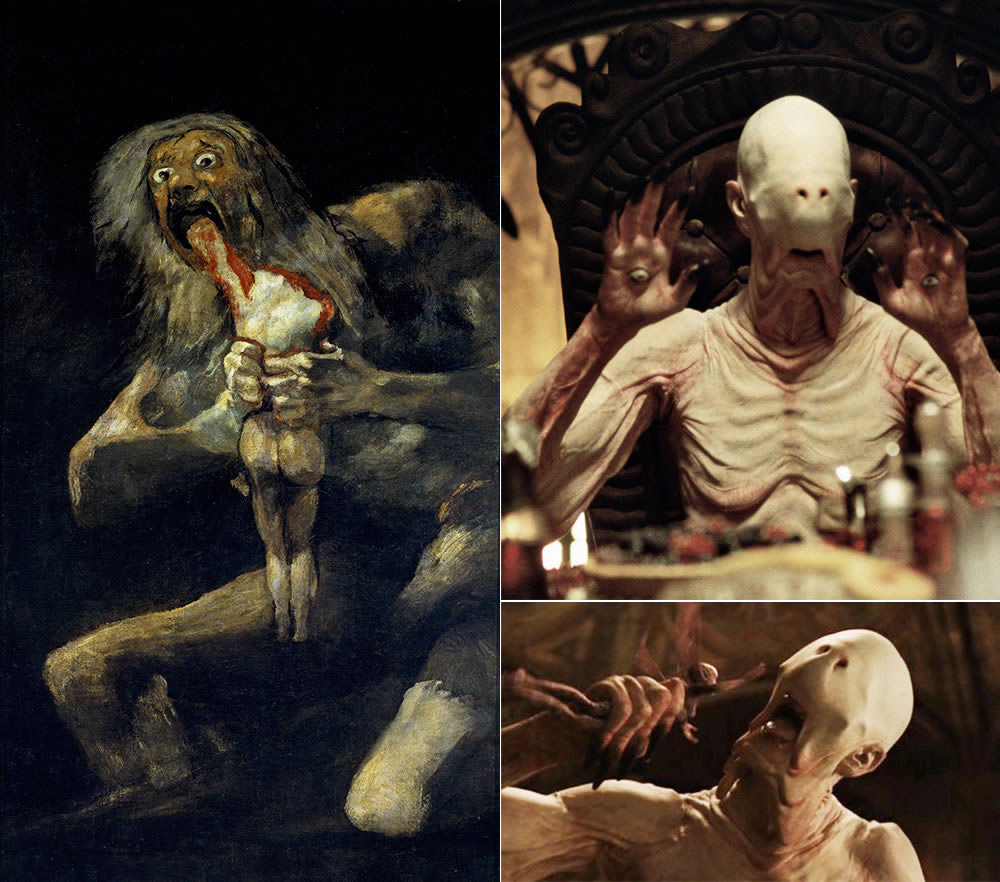 "Left: Francisco Goya's painting ""Saturn Devouring his Son"" (c. 1819–1823). Right: Film stills of the Pale Man in ""Pan's Labyrinth"" (2006; directed by Guillermo del Toro)"