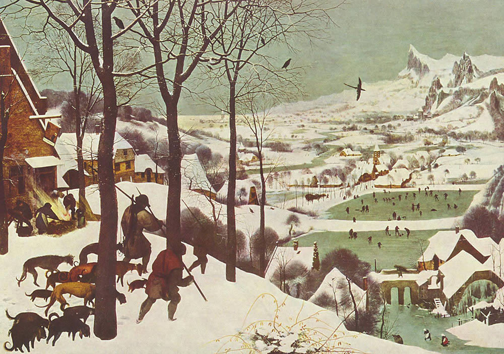 """Top: Pieter Bruegel's painting """"The Hunters in the Snow."""". Bottom: The opening scenes of  """"Melancholia"""" (2011; directed by Lars Von Trier)."""