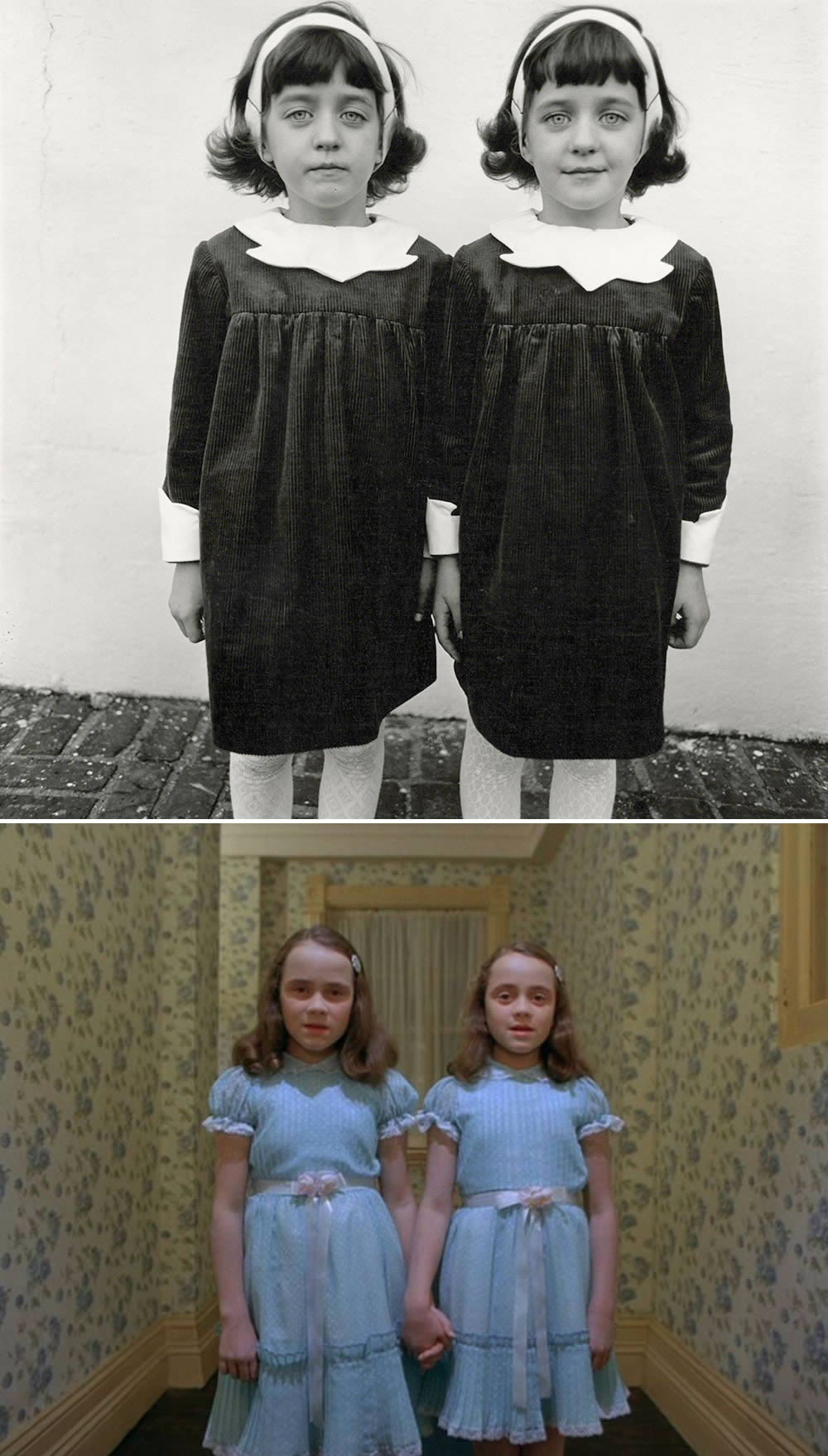 "Top: Diane Arbus' photo titled ""Identical Twins, Roselle, New Jersey, 1967."" Bottom: The twins in ""The Shining"" (1980; directed by Stanley Kubrick)."
