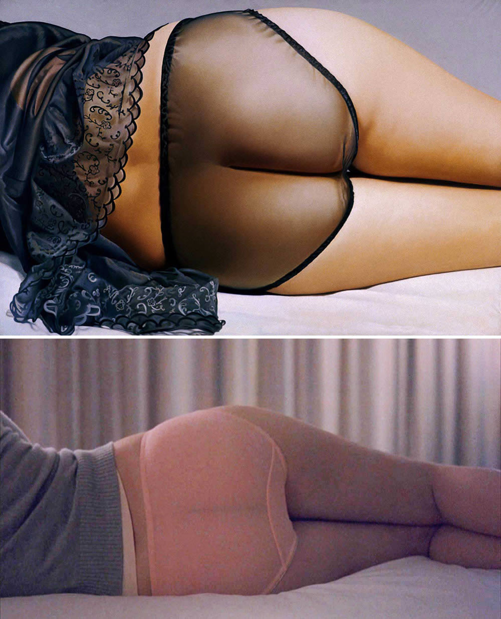 """Top: John Kacere's oil painting """"Jutta"""" (1973). Bottom: Charlotte (Johansson) laying on a bed in """"Lost in Translation"""" (2003; directed by Sofia Coppola)."""