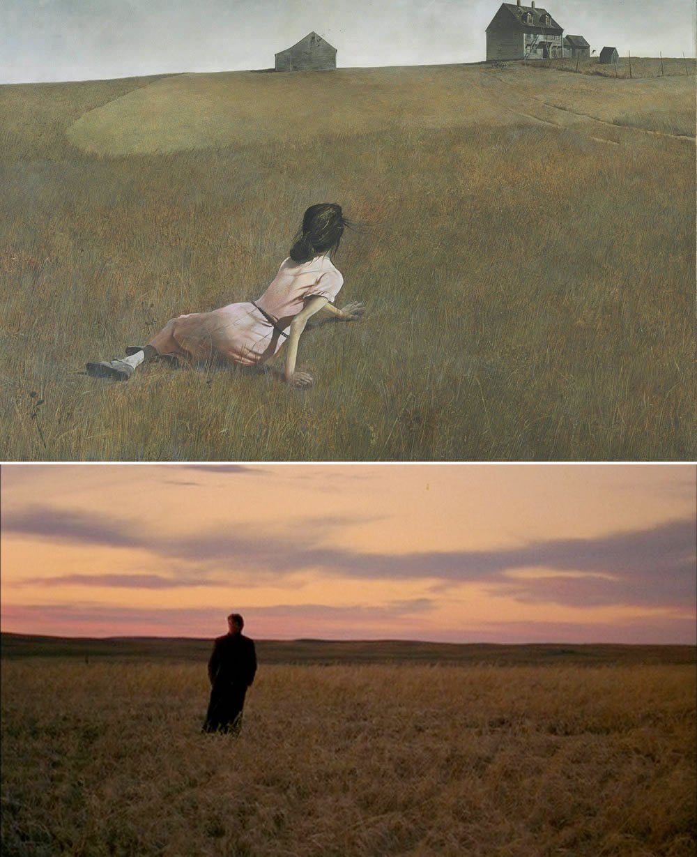 "Top: Andrew Wyeth's painting ""Christina's World"" (1948). Bottom: A film still from ""Days of Heaven"" (1978; directed by Terrence Malick)."