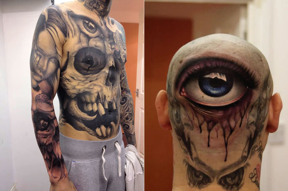 Skull on body and eye on head tattoos by John Anderton