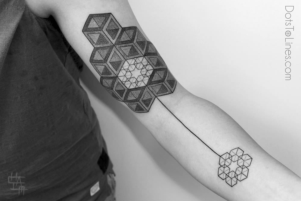 3d cubes tattoo on arm by Kenji Alucky