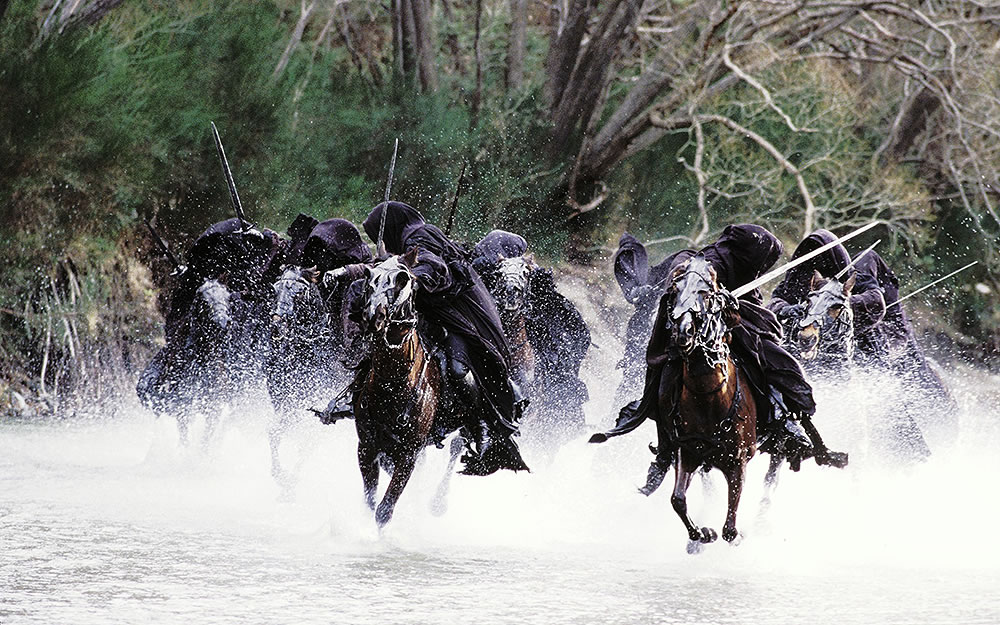 the lord of the rings, horses in water.