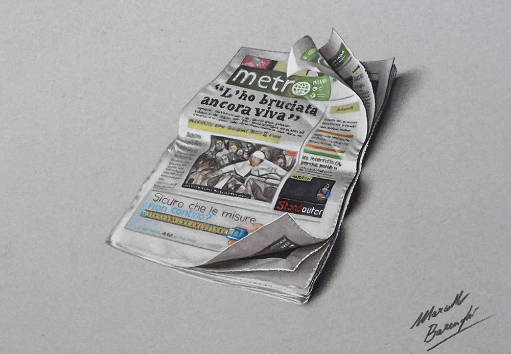 Newspaper drawing by Marcello Barenghi