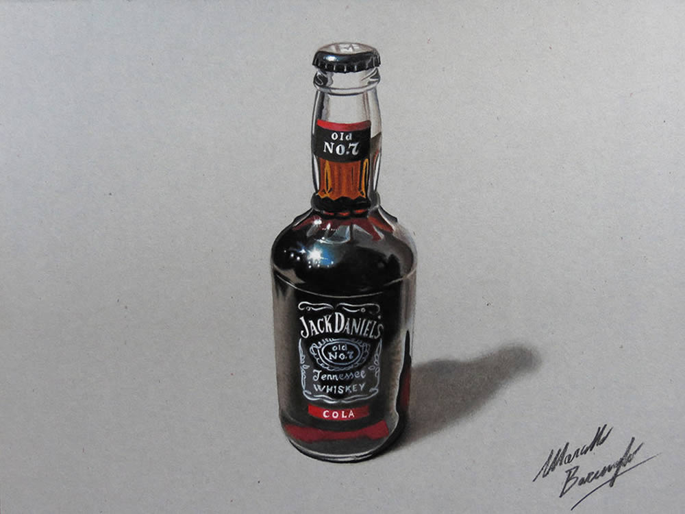 Jack Daniels drawing by Marcello Barenghi